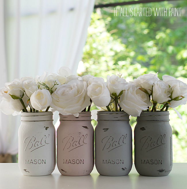 chalk paint mason jars How To Paint and Distress Mason Jars chalk paint mason jars
