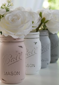 How To Paint Distress Mason Jars: Chalk Paint Mason Jars in Pink, Grey, Greige, White