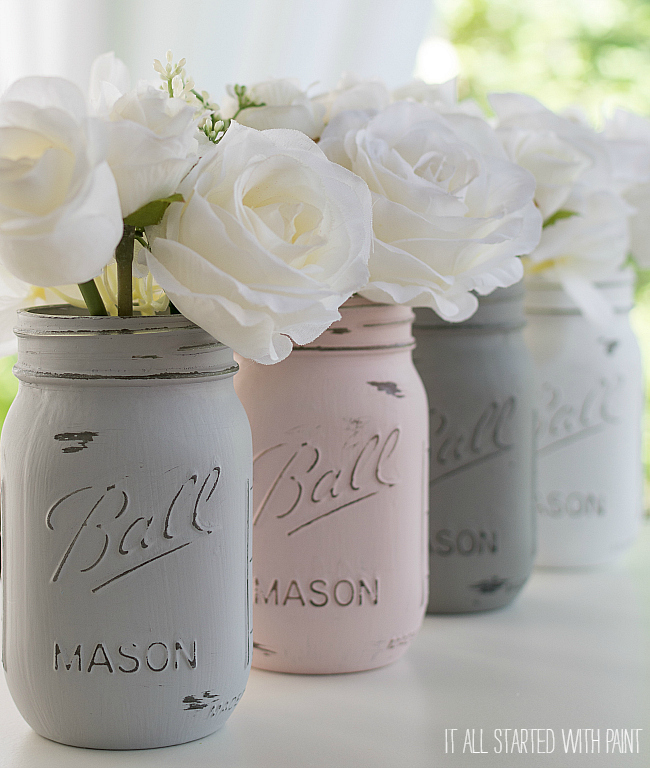 painted distressed mason jars pink grey chalk paint