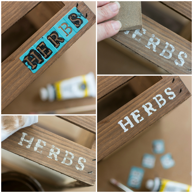 Rustic Tool Box Planter with Herb Stencil