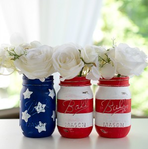 Red White Blue Mason Jar Flags