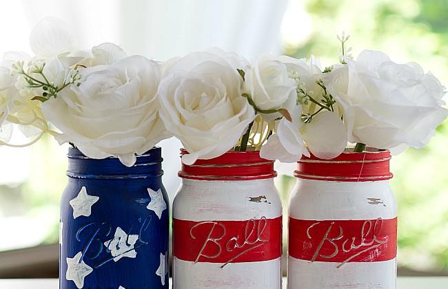 Red White Blue Mason Jar Flags