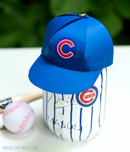Mason Jar Craft: Baseball Uniform Mason Jar