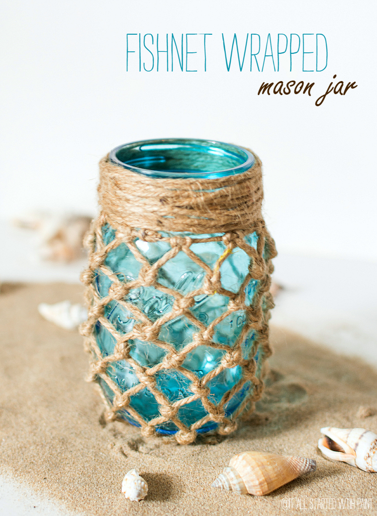 Nice Mason Jar Decor Part - 10: Fishnet Wrapped Mason Jar - Beach Decor Ideas