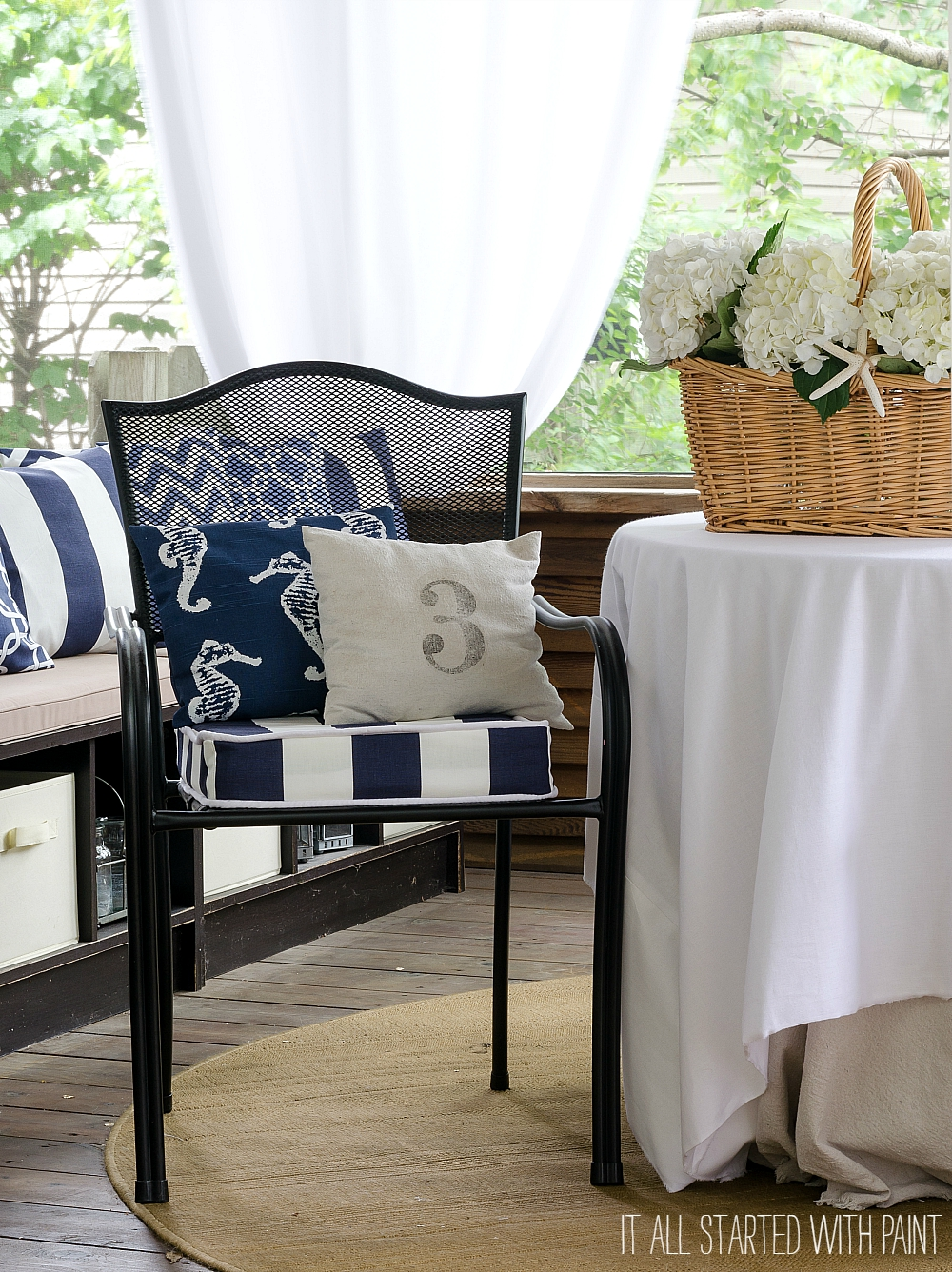 Screen Porch Decorating Ideas in Navy and White