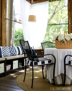 Screen Porch in Navy and White Decor