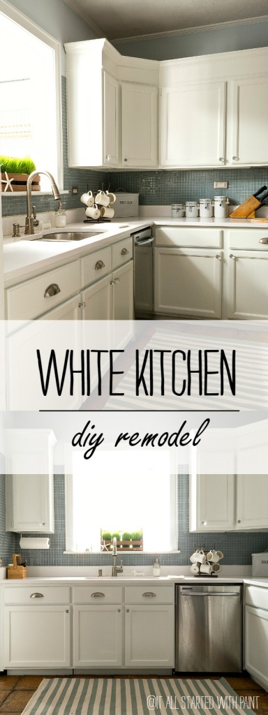 White Kitchen Cabinets, White Countertop, Blue Backsplash