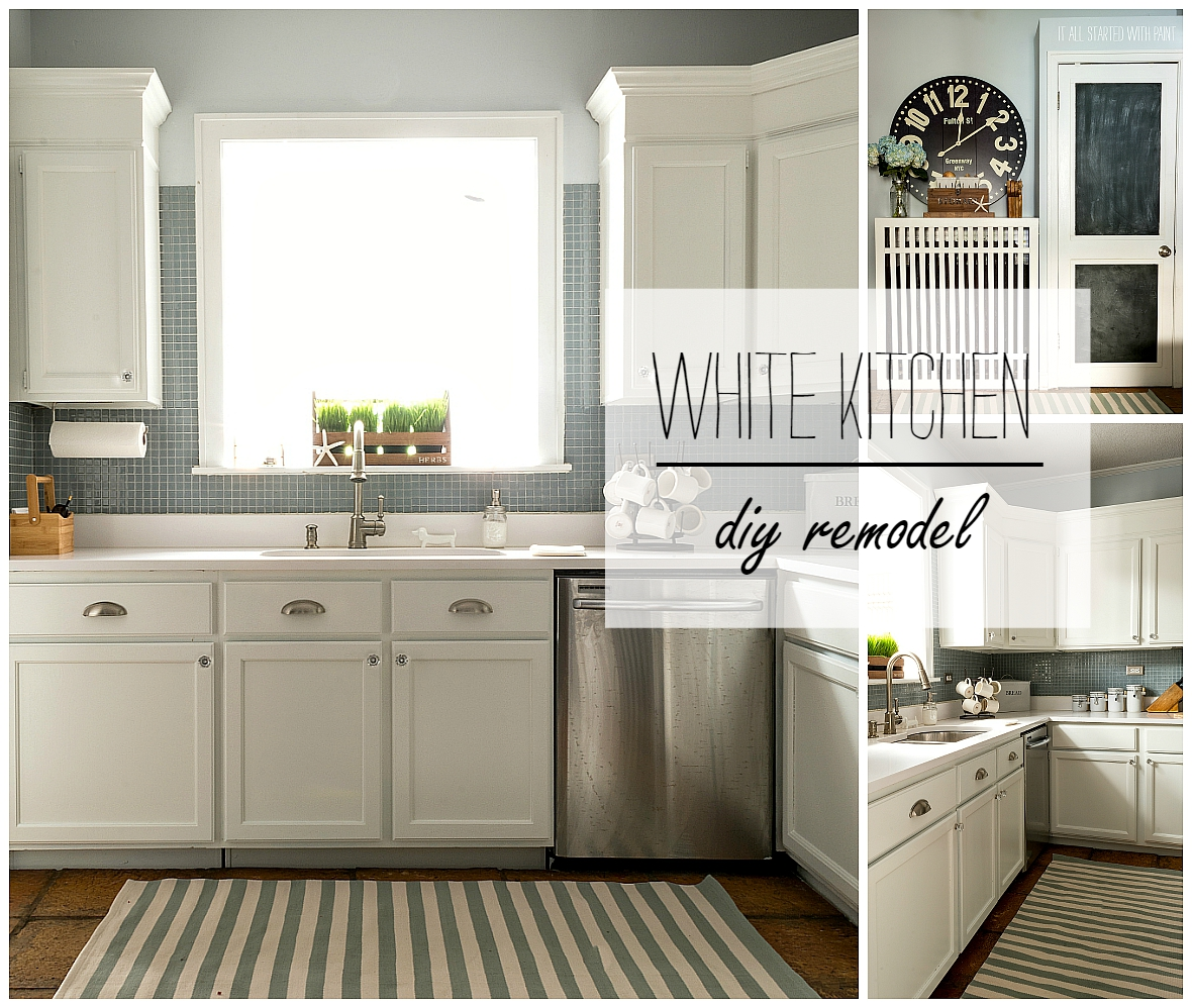 Builder Grade Kitchen Transformation With White Paint Blue Gray Tile Back Splash White Counter