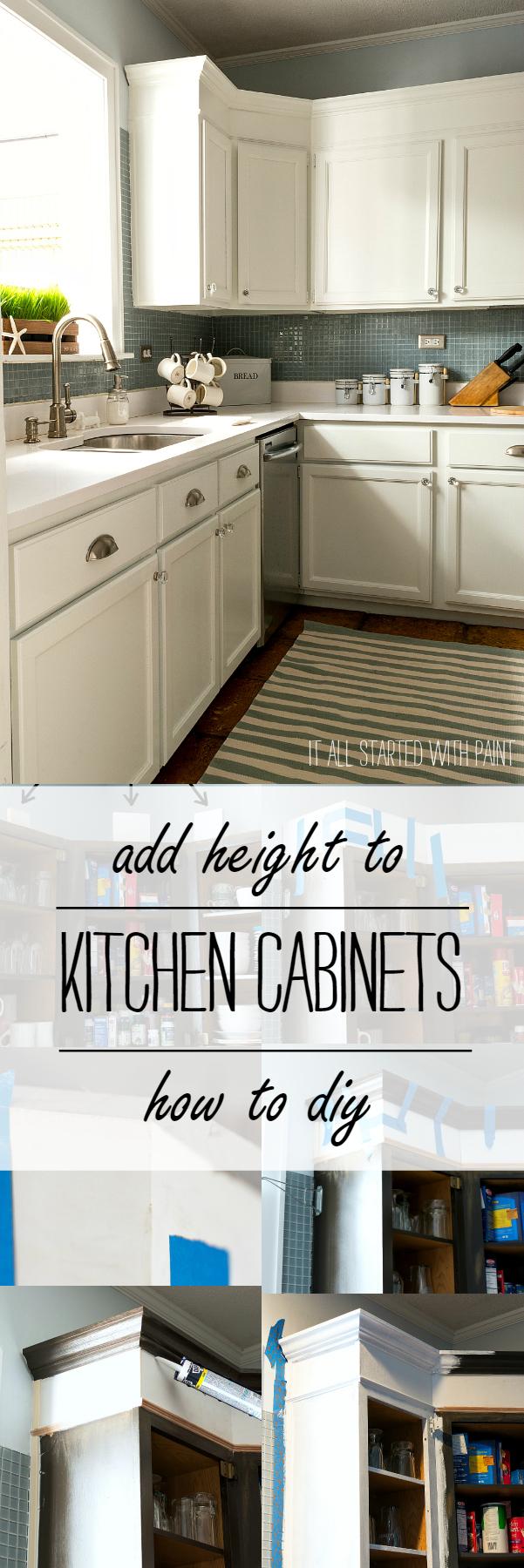 Easy Way to Add Height To Tops of Kitchen Cabinets Without Power Tools