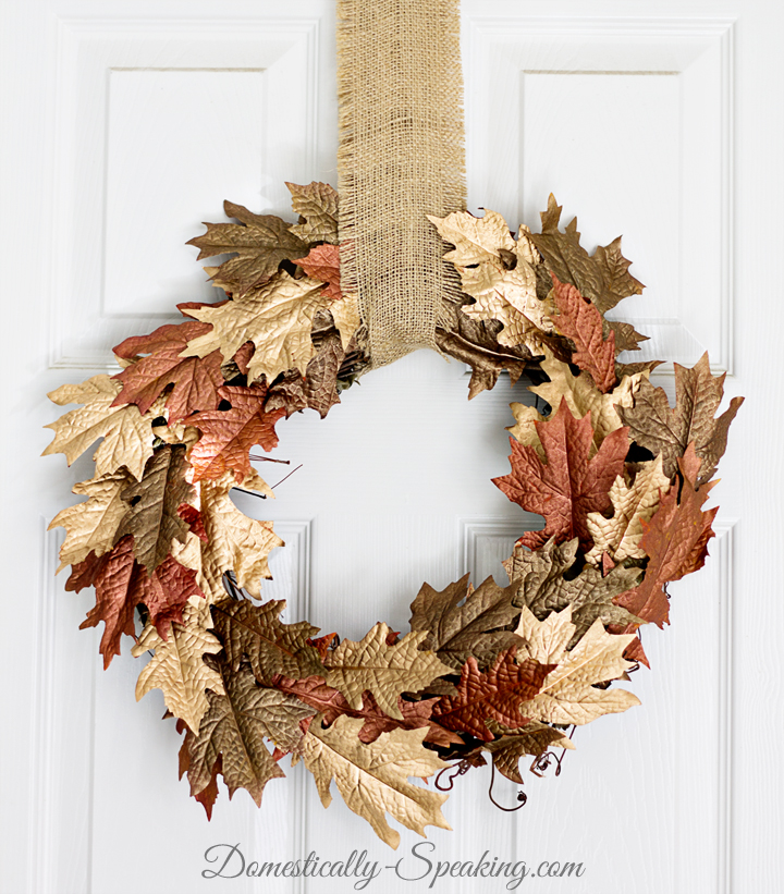 Painted Leaf Wreath @Domestically Speaking