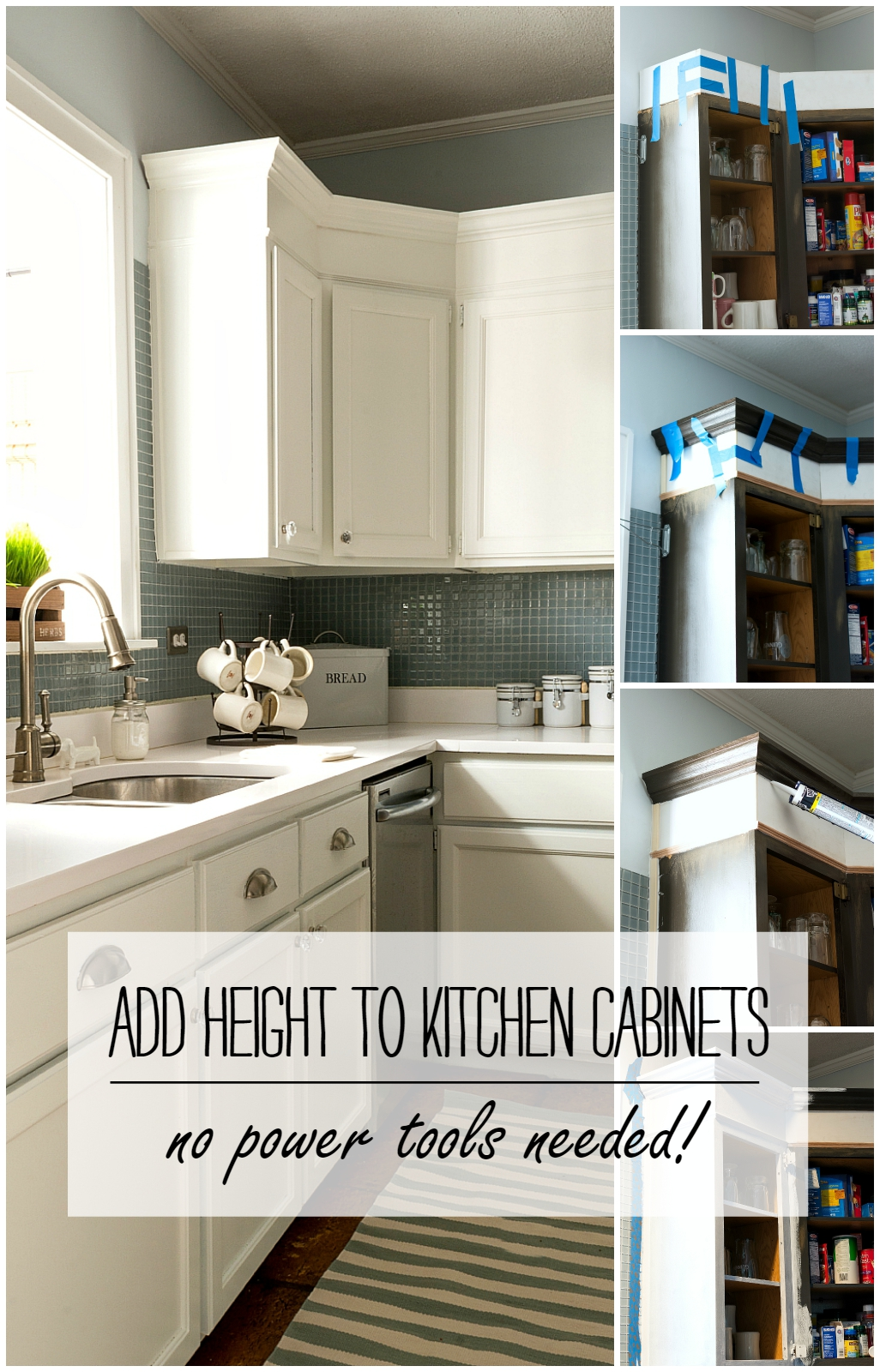 nice Adding Cabinets To Existing Kitchen #8: How To Add Height To Kitchen Cabinets - No Power Tools Needed