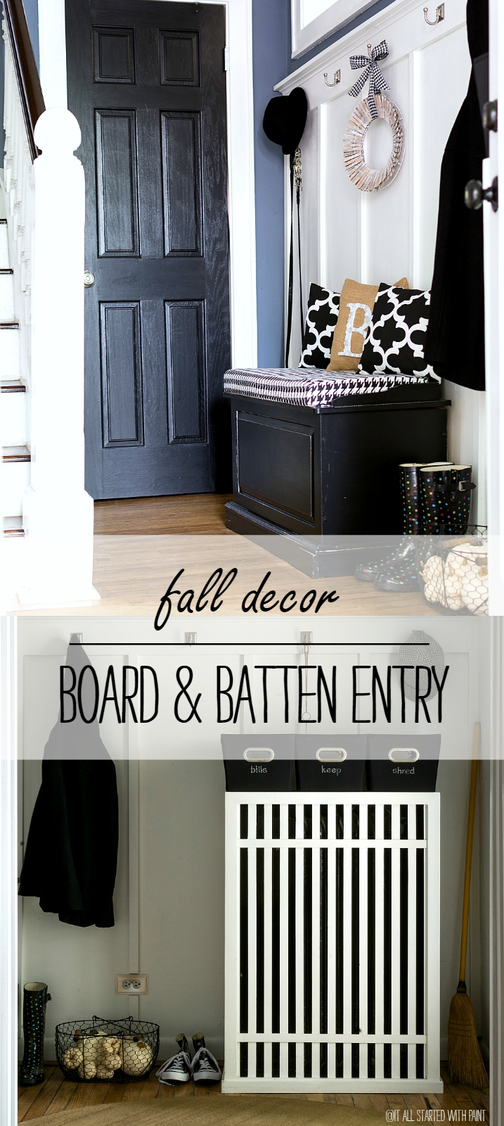 Board & Batten Entry: Black, White, Burlap For Fall