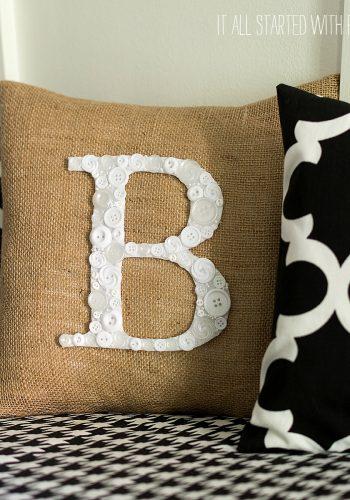 Button Monogram Letter Pillow