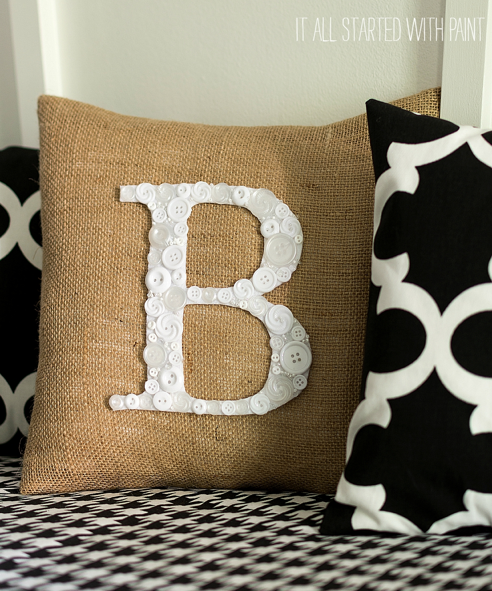 Button Monogram Letter Pillow
