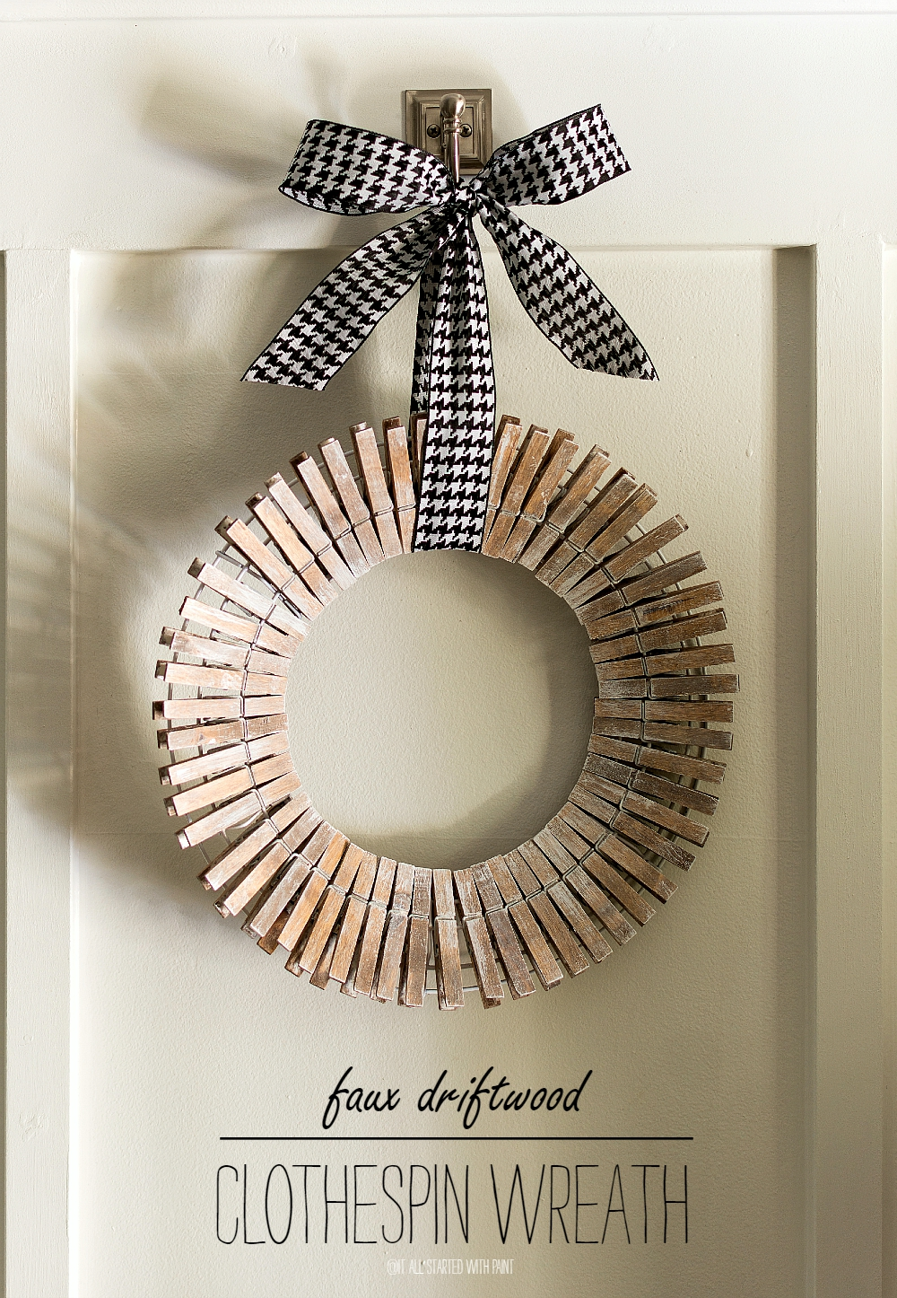 Clothespin Wreath Stained & Painted with Faux Driftwood Look