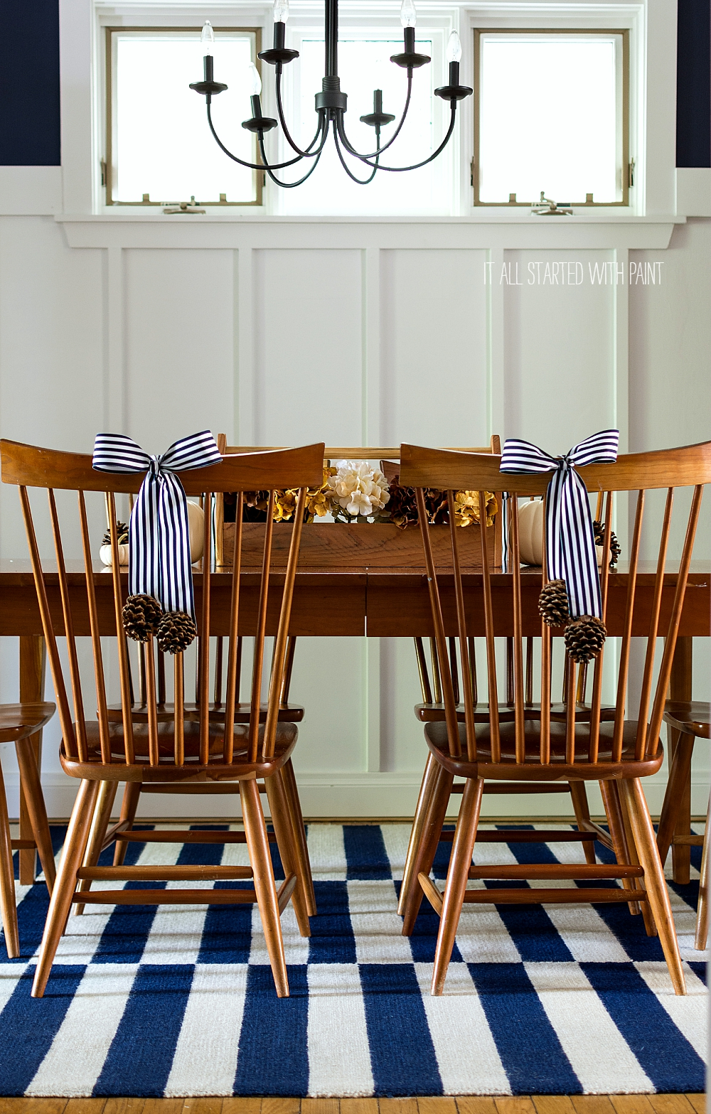 Navy White Fall Decor Dining Room