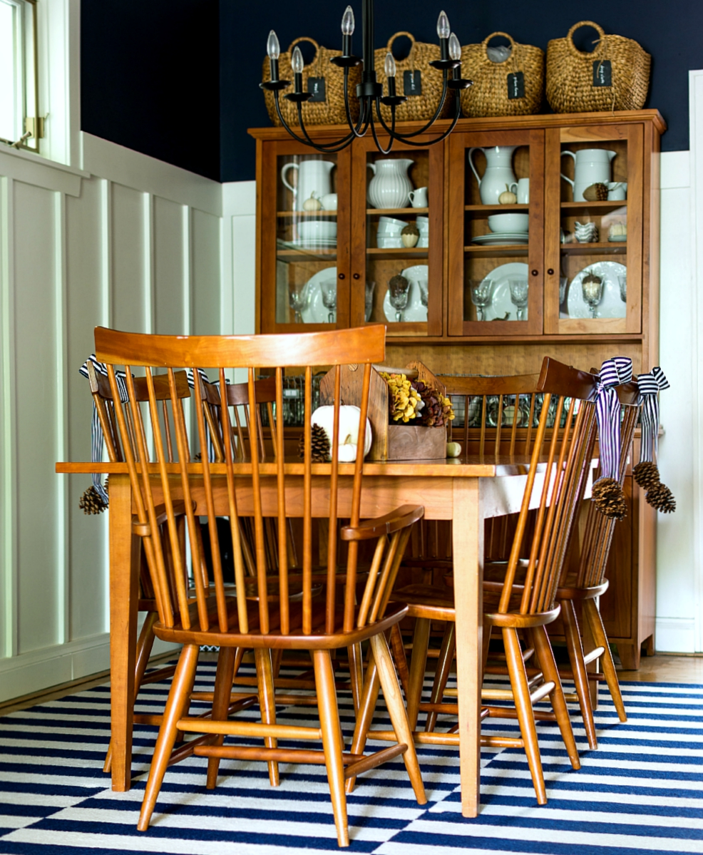 Navy & White Fall Dining Room Decor
