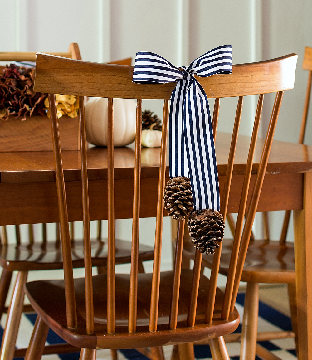 Decorating Dining Room Chairs: Bow and Acorn for Fall