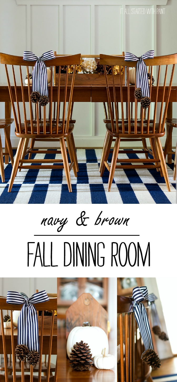 Navy & Brown Dining Room for Fall