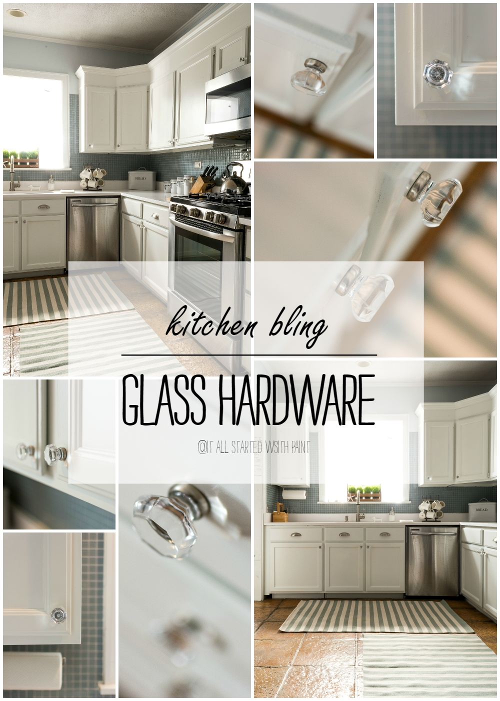 Glass Hardware In A White Kitchen