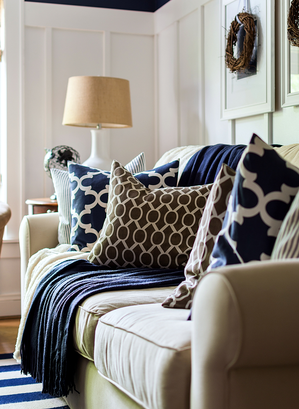 Brown And Navy Envelope Pillows For Fall Decor