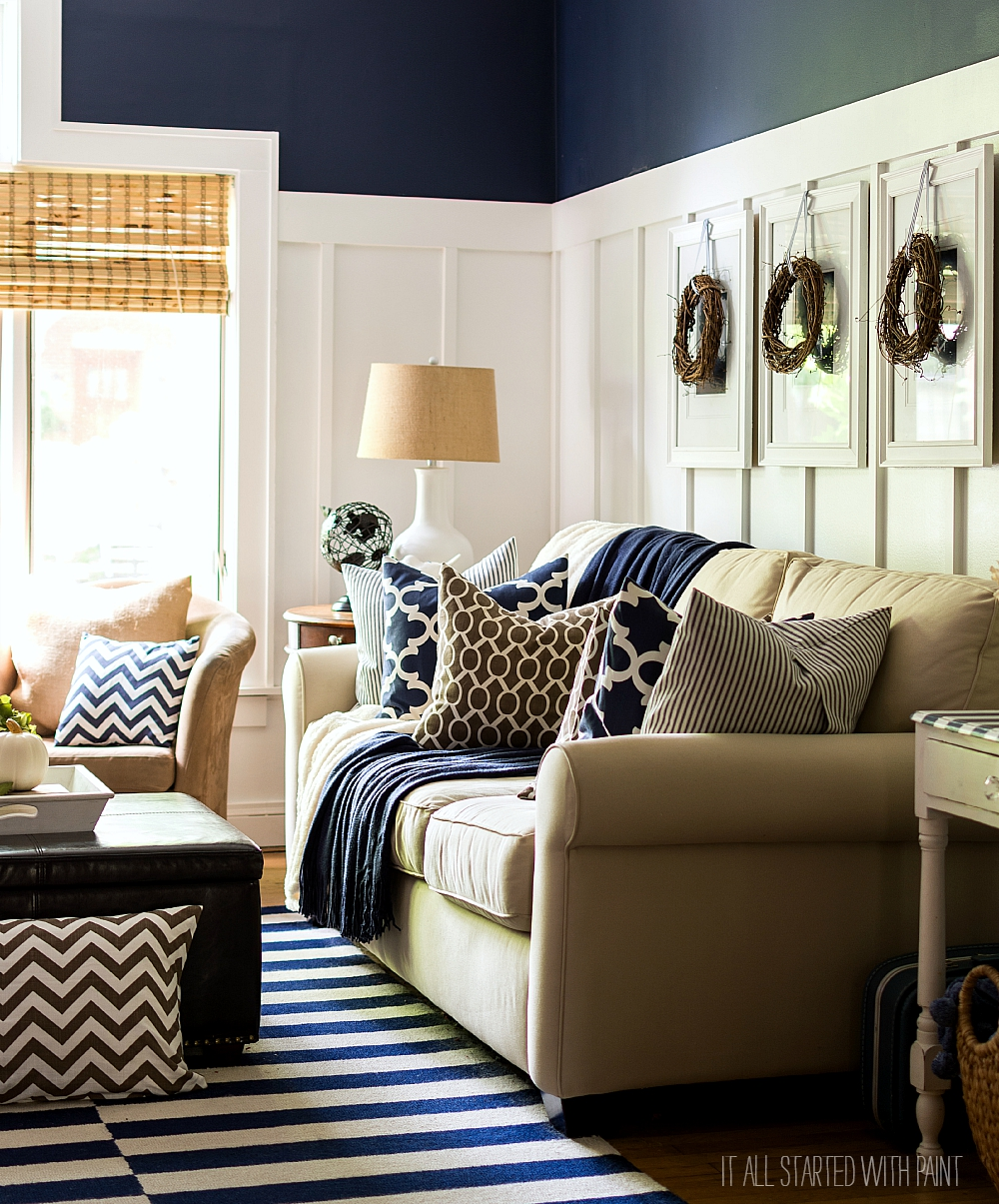 Fall Decorating Ideas Using Brown and Navy Neutrals: Board and Batten Living Room Decorated for Fall