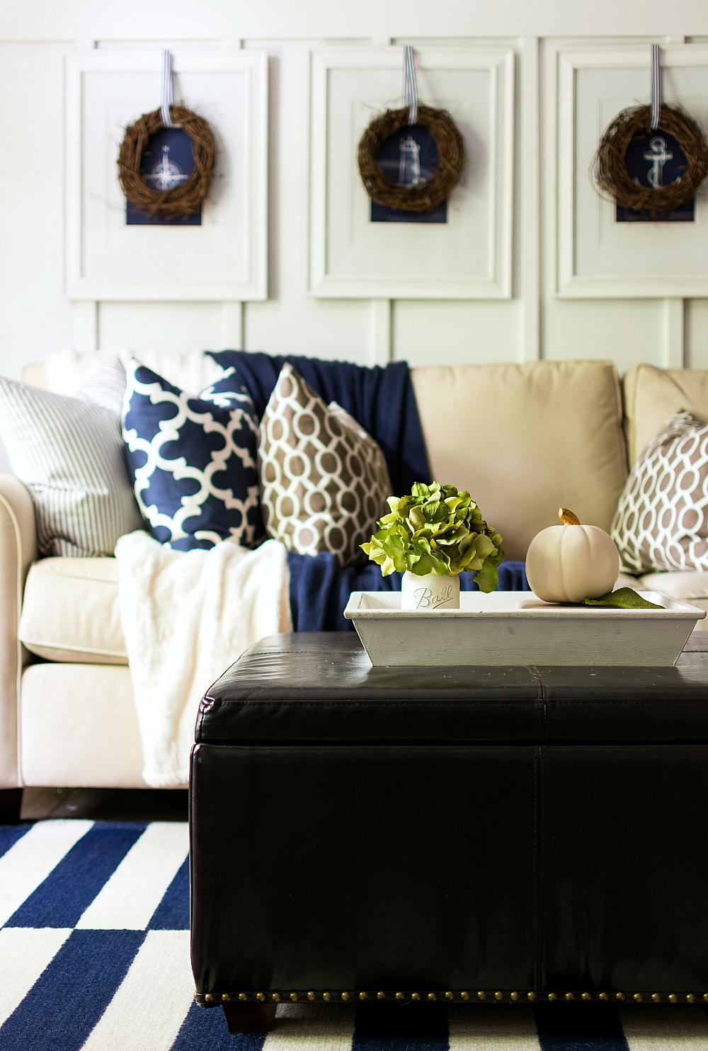 Fall Decorating Using Navy and Brown and White: Board and Batten Living Room Decorated for Fall