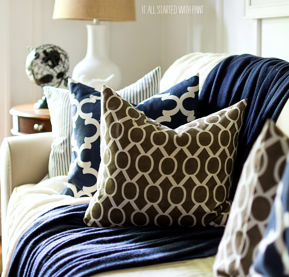 Fall Decor Ideas in Navy & White: Board and Batten Living Room with Navy Painted Walls Decorated for Fall in Neutral Navy and Brown