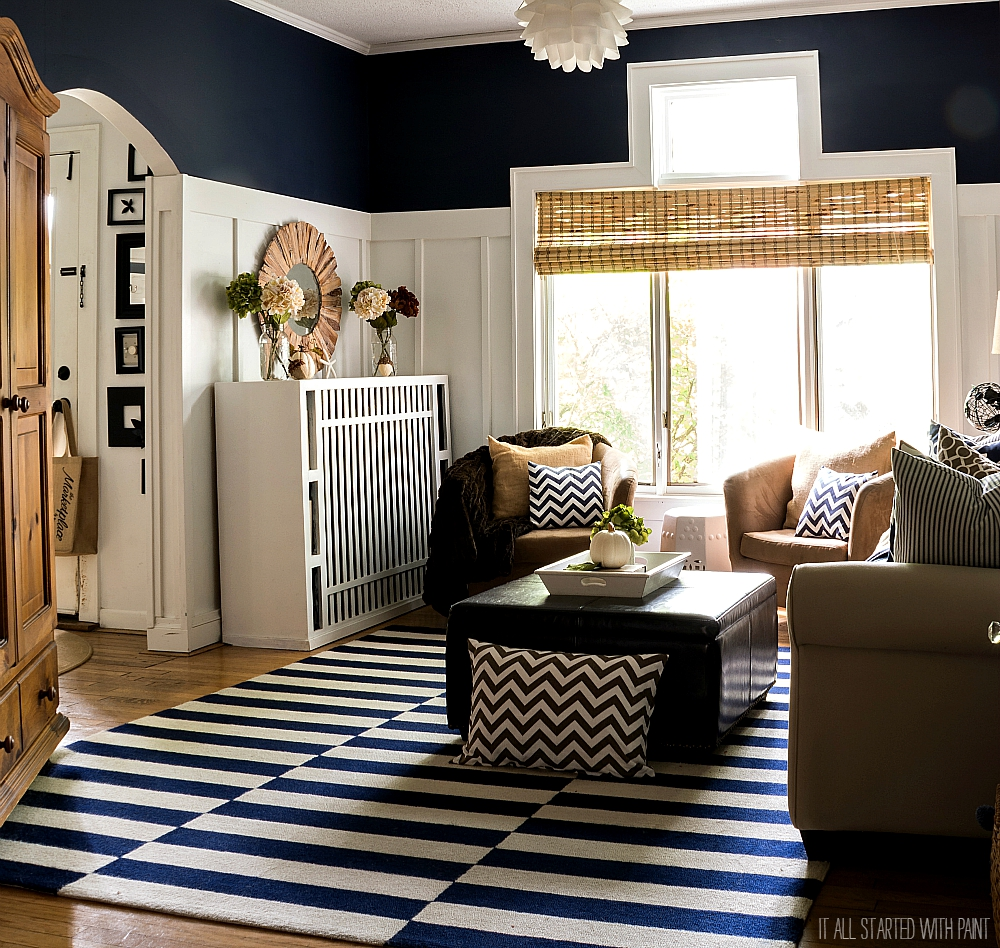Fall Decorating with Navy and Brown
