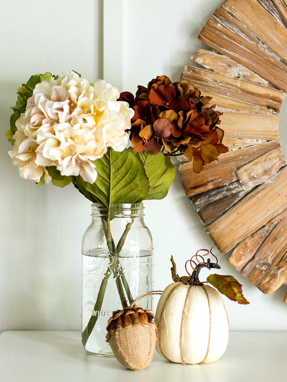 Fall Decorating Ideas: Hydrangeas and Pumpkins in Mason Jar Vase