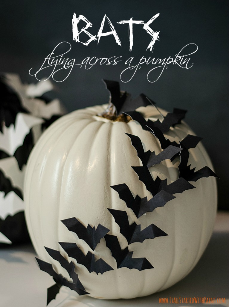 No Carve Pumpkin Ideas: Bats Flying Across Pumpkin