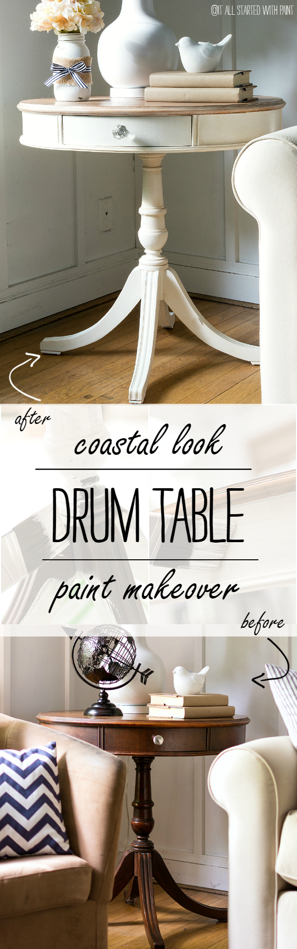 Drum Table Coastal Makeover Using Chalk Paint