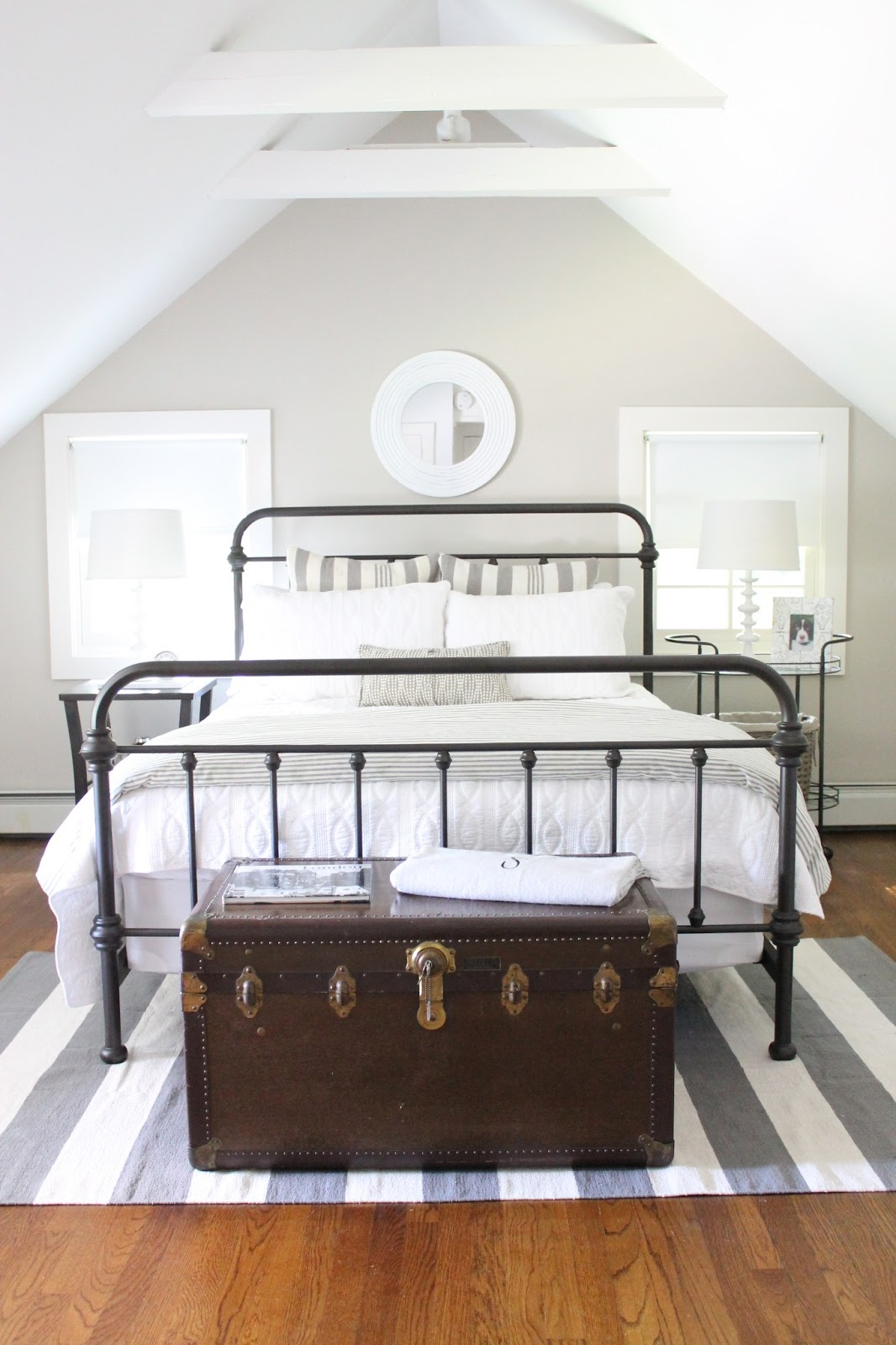 Black Iron Bed in Farmhouse Bedroom