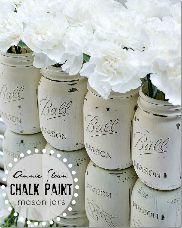 Mason Jar Painted and Distressed with Chalk Paint