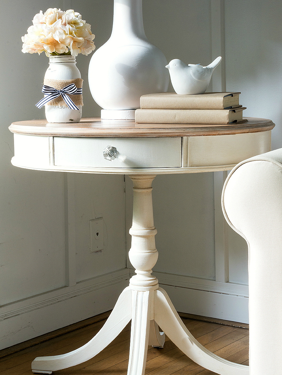 Drum Table Makeover Painted White With Chalk Like Paint from Amy Howard One Step Paint Line