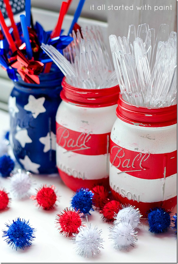 Mason Jar Crafts: Red White Blue Mason Jar Flag