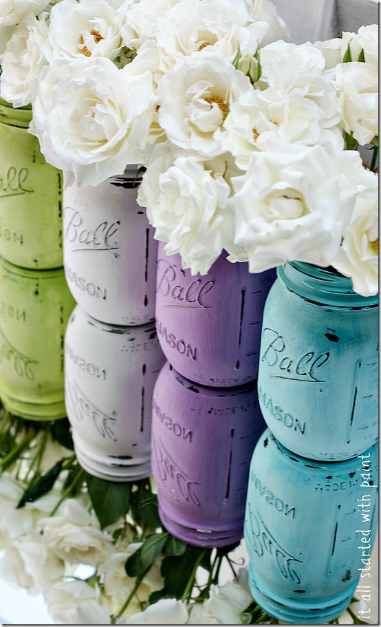 Painted, Distressed Mason Jars