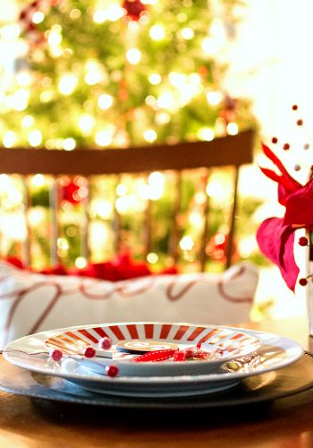 Holiday Table Setting Idea in Red & White (& Black)