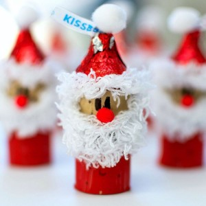 Wine Cork Kisses Santas