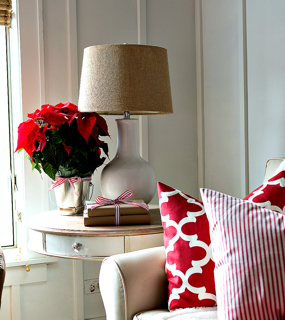 Easy Side table decorating idea for Christmas