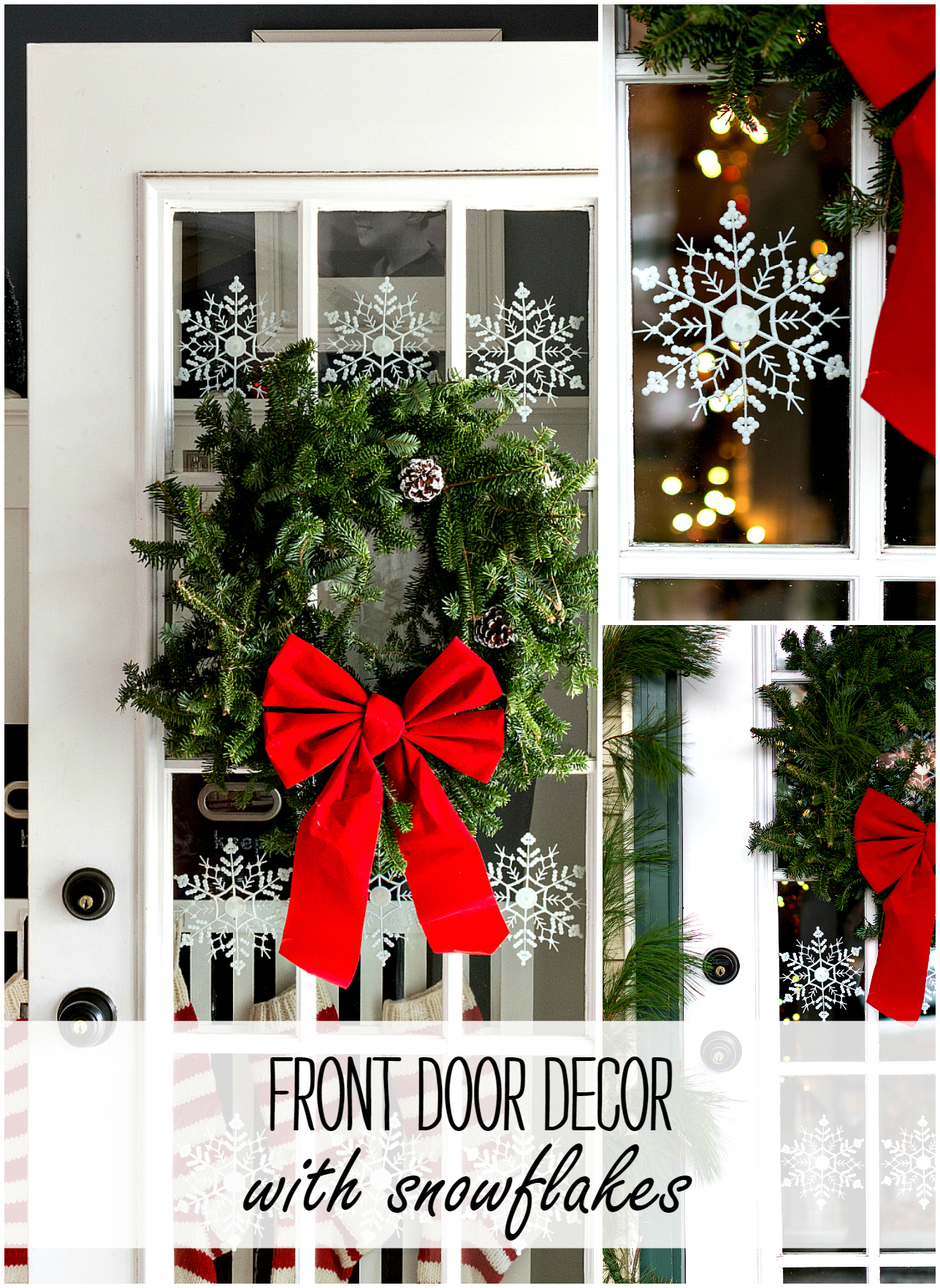 Christmas Door Ideas with Wreath and Snowflaks
