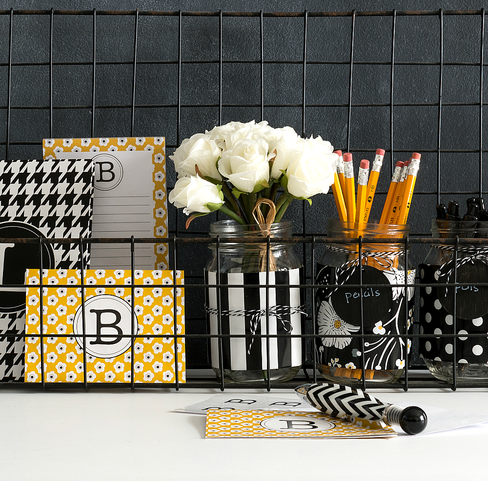 mason jar desk organizers it all started with paint. Black Bedroom Furniture Sets. Home Design Ideas