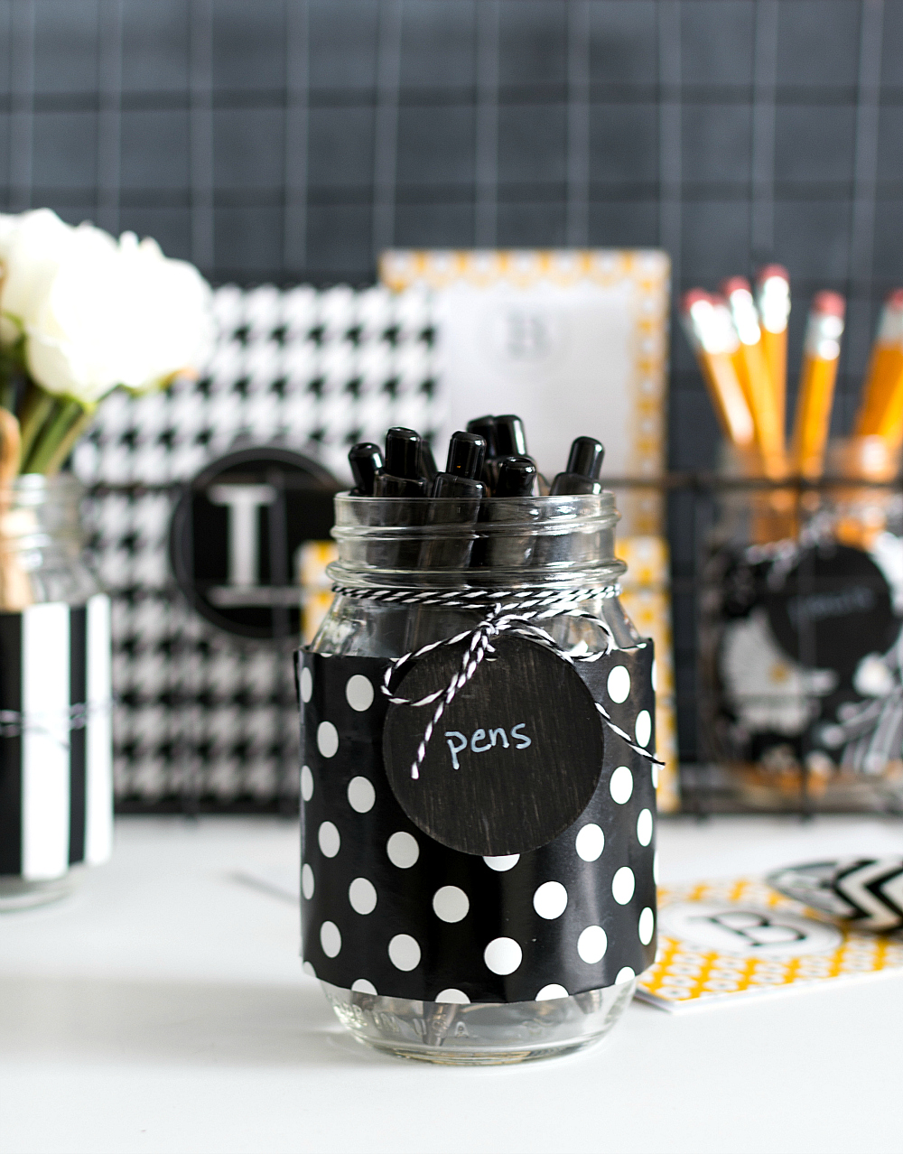 How To Organize Your Desk with Mason Jars