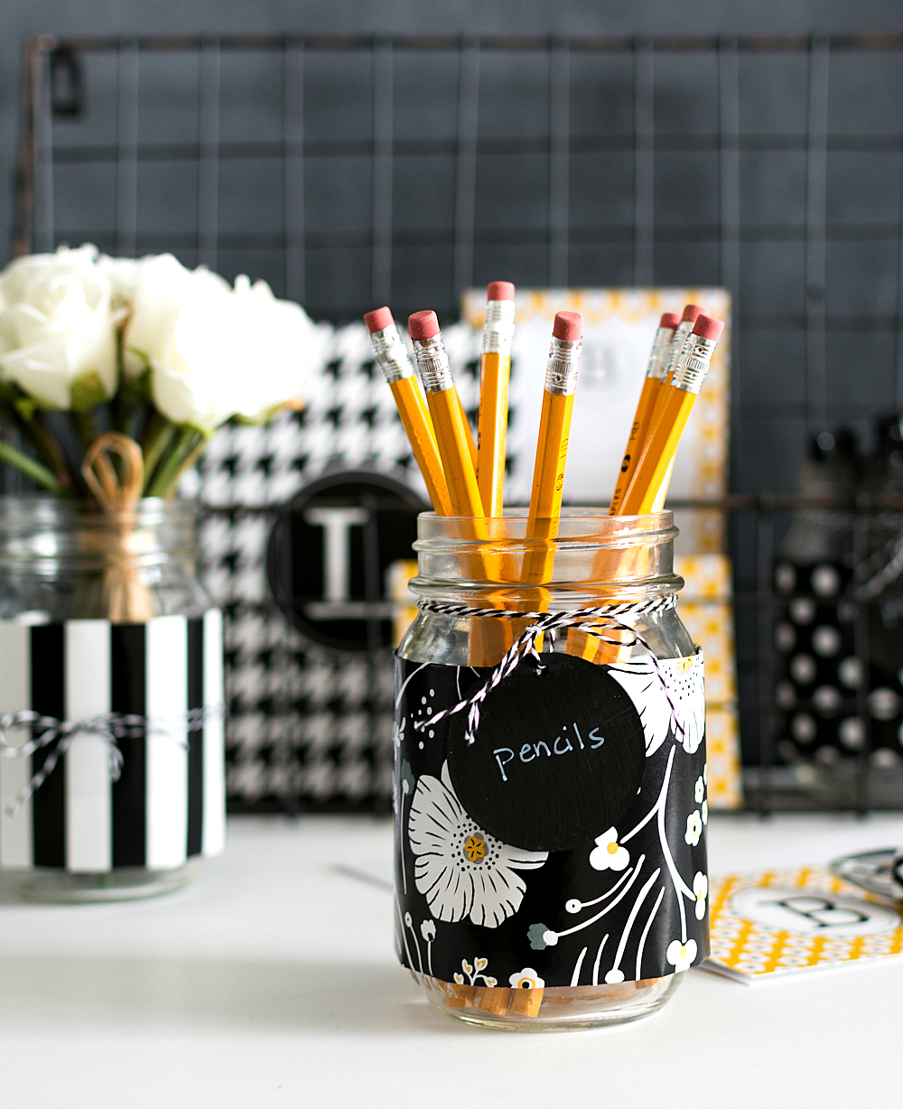 Desk Storage And Organization Ideas With Paper Wrapped Mason Jars