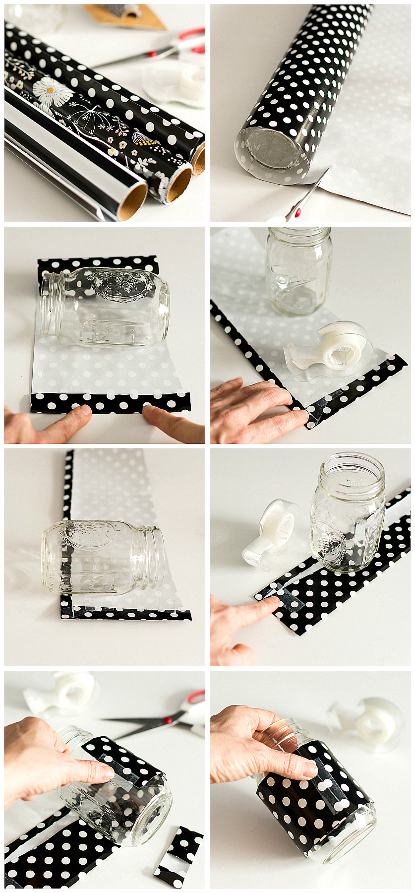 Paper Wrapped Mason Jar Desk Organizers