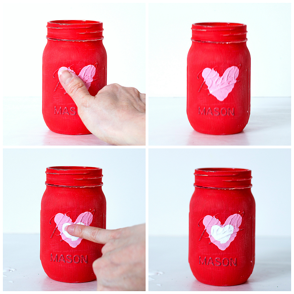 Mason Jar Crafts for Kids for Valentine's Day - Thumbprint Heart Jars