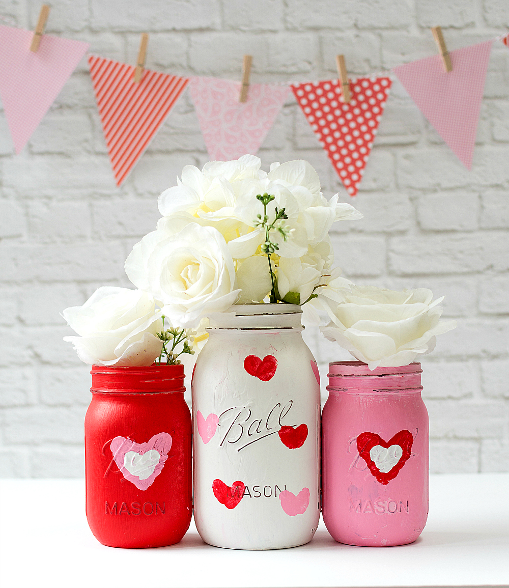Valentine Kid Craft - thumbprint Heart Jars