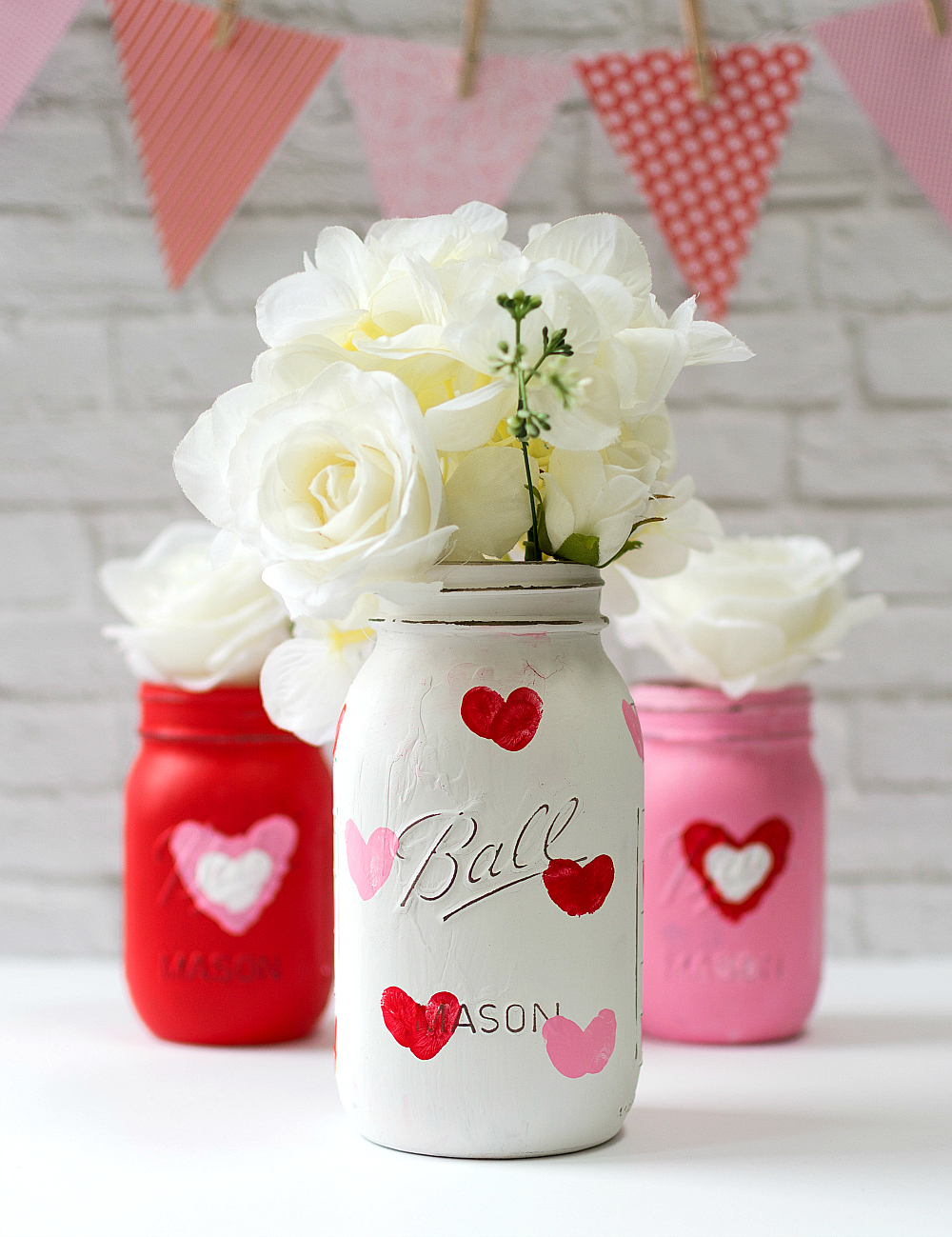 Valentine Day Kid Craft Thumbrint Heart Jars