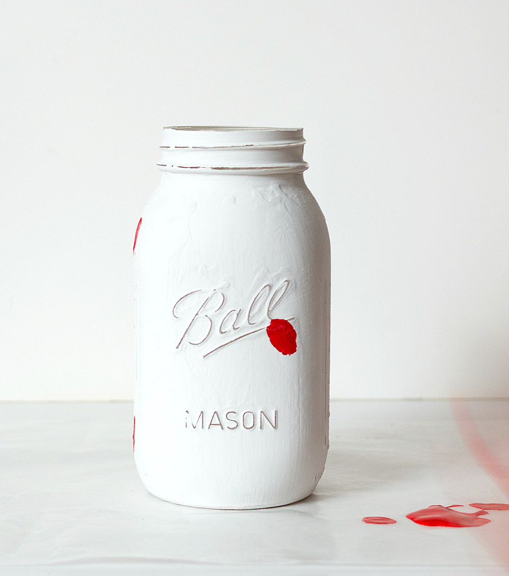 Painted Mason Jar for Valentines Day