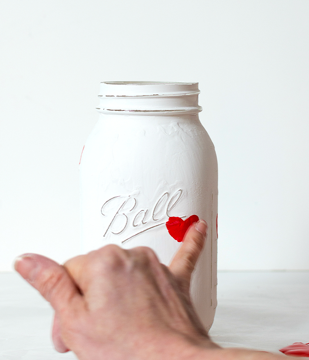 Thumbprint Hearts with Paint on Mason Jars